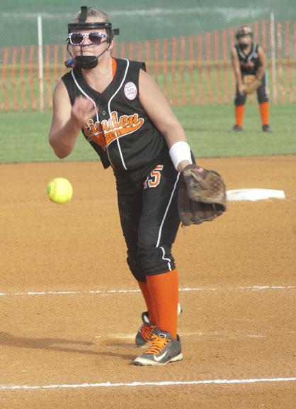 Claudia Peppenhorst pitches for Linden against Demopolis.