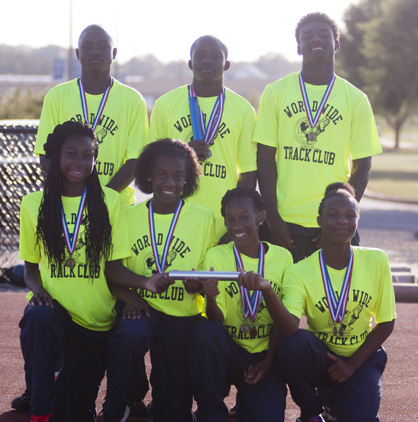 The boys and girls 4x100-meter relay teams both won gold at the meet. Shown are the members of the boys team, Alexander Besteder, Anthony Jackson and Antonio Besteder. Demetrius Davis is not pictured. The members of the girls team are Ashleigh Ivory, Ny'Keria Grayer, Shy'shawna Smith and Yasmein Rainey.