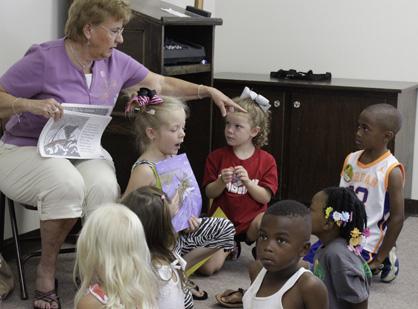 Andrea Ward teaches children at Demopolis First Presbyterian Church's VBS.