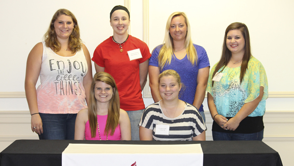 Pictured from left to right in the back row are Michcayla Pouncey of Daleville, Shana DuPree of New Market, Raylee Eubanks of Faunsdale and Hannah Windle of Reform. Pictured from left to right in the front row are Katie Harter of Bessemer and Audrey Luna of Toney.