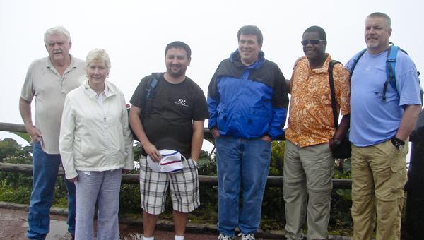 Trinity Episcopal Church members Ben Sherrod, Rebecca Culpepper, Justin Averette and rector John David Barnes with Carols Cunningham of Costa Rica Kairos and trip leader John