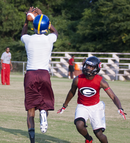 ALJ receiver Warren Boykin comes down with a pass against Greensboro.