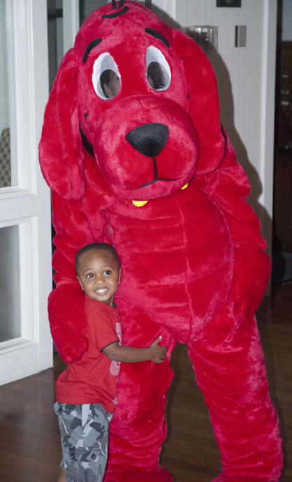 Demarrion Gracie is shown with Clifford at the book fair.