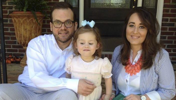"""James Burden will play Robbie in the Canebrake Players' production of """"The Wedding Singer."""" He is shown with his wife, Erin, and daughter, Ella Giles."""