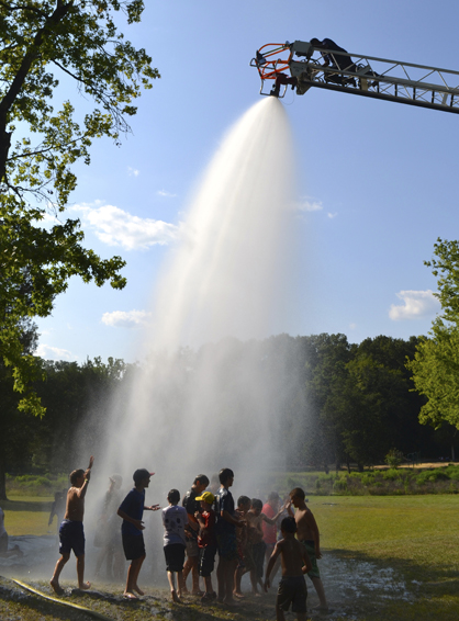 The Demopolis Fire Department supplied water for the water slide.