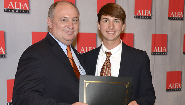 John Stuedeman, a Demopolis High School graduate and Auburn student, was honored at the Alabama Farmers Federation (AFF) 2014 Scholarship Recipients Luncheon last weekend. He is shown with AFF President Jimmy Parnell.