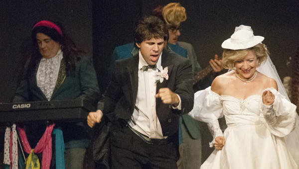"""Newlyweds Kirk Brooker and Cyd Johnston dance in the opening number of """"The Wedding Singer."""""""