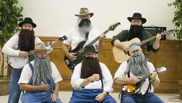 Members of the Demopolis First Baptist Church music ministry dressed as the Soggy Bottom Boys for the church's monthly Joy Day. Shown are (back row) Tim Hall, George Ballard and Carl Williams; (front row) John Malone, Ed Rush and Henry Baxley.
