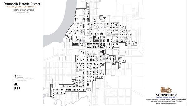 This map shows Demopolis' federally-designated historic district.
