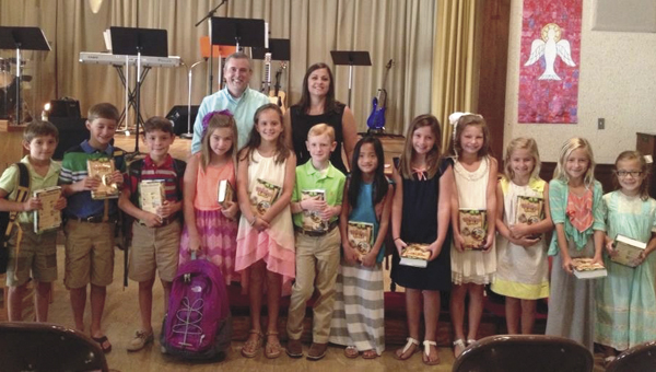 During the early service, Bibles were presented to:  Bryant Turberville, Bradford Pruett, Trey Pritchett, Emma Kate Parr, Sasser Braswell, Jacob Davis, Hattie Hurst, Mary Jordan, Ashton Moorer, Eva Overmyer, Sarah Overmyer and Taylor Quinney.  Not pictured are Anna Rene Lewis and Maddie Singleton.