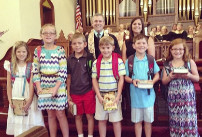 During the late service, Bibles were presented to:  Sarah Beth Smith, Anne Eloise Smith, Ethan Malone, Ben Lindsay, Cameron Bell and Anna Braswell Malone.  Not pictured are Mae Harmon Nettles and Haylee Rowley.  Bibles were presented by the Rev. David Willis and Jordan.