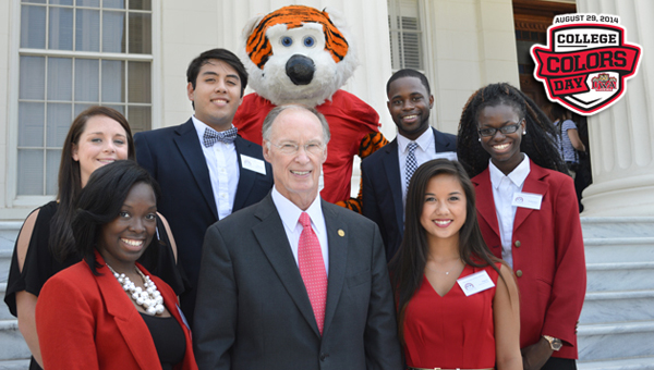 UWA student representatives gathered at the Alabama State Capitol last week with Gov. Robert Bentley and college mascots from across the state to promote College Colors Day, which is set for Friday, Aug. 29. Pictured left to right on the front row are SGA Vice President Jerria Prince, Gov. Bentley, STARS Coordinator Paige Ip; second row, SGA Business Manager Hannah McDaniel, SGA Attorney General Naine Lopez, LUie the Tiger, SGA President D'Anthony Jackson, and SGA Secretary Jasmine Knox.