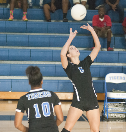 Jade Montgomery sets up a teammate during Tuesday night's win over Sumter Central.