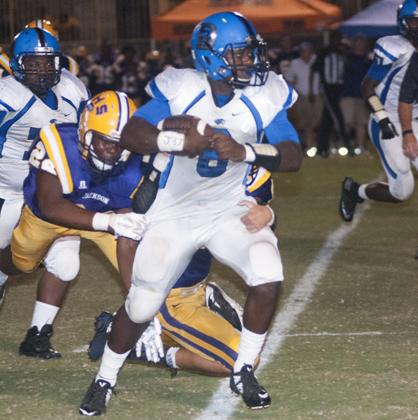 Jayjerein runs through a Jackson tackler.