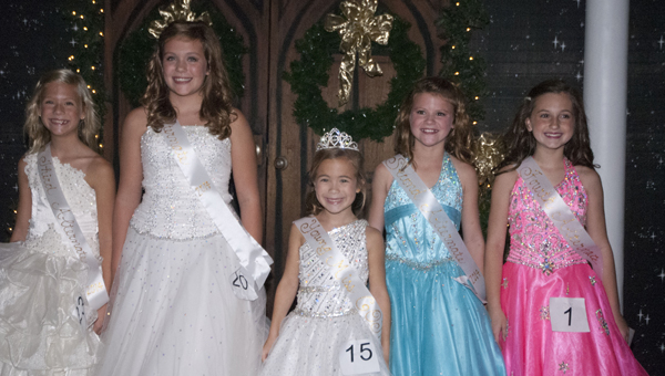 The 2014 Young Miss Christmas on the River court, from left, Molly Katherine Harrison, third runner up; Mary Creigh Smith, first runner up; Taylor Mills Quinney, Young Miss COTR; Abby Grace Cameron, second runner up; and Cassidy Claire Crawford, fourth runner up.