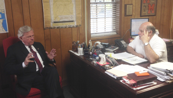 Democratic gubernatorial candidate Parker Griffith stopped in Demopolis on Tuesday and spoke with Mayor Mike Grayson about his ideas for the office.