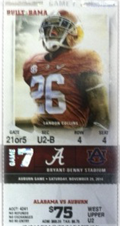The Demopolis Kiwanis Club is raffling off a set of four Iron Bowl tickets for this year's game.