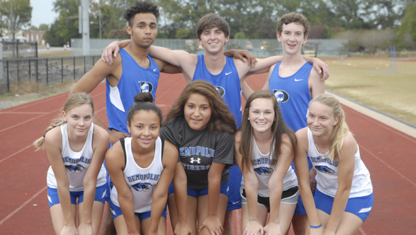 Shown are the Demopolis High School cross country runners who qualified for the state meet: (back) Datrion Fultz, Seth Latham and Banks Compton; and (front) Audrey Boykin, Sylvia Clayton, Petra Miranda, Mary-Michael Bradley and Gracie Boykin.