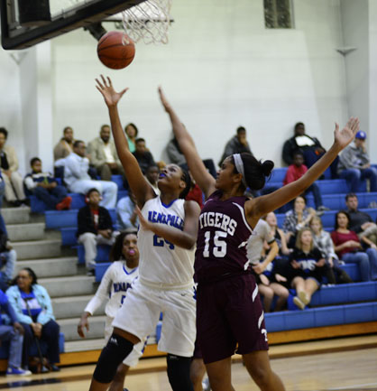 Caleb Washington goes up for a layup against Thomasville. She led the way for Demopolis with 14 points in the game.