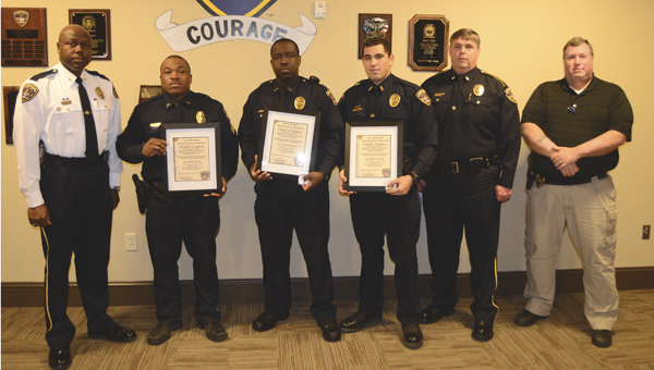 Demopolis Police Chief Tommie Reese recognized the three officers involved in a recent high-speed chase. Shown from left to right are Reese, Sgt. Richard Bryant, Officer Tyrrenza Washington, Officer Joshua Ochiltree, Lt. Rex Flowers and Lt. Tim Soronen.