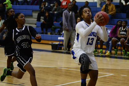 Dha'Deitra White goes up for a layup in Tuesday night's win over Dallas County.