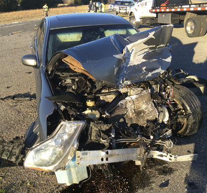 A vehicle ran into the back of a DPD patrol car Thursday morning on Highway 80. The driver of the vehicle was taken to Vaughan Regional Medical Center to be treated and released.