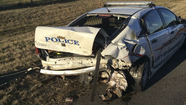DPD Officer Dion Pritchett Jr., was injured Thursday morning when a vehicle ran into the back of his patrol car. Pritchett was transported to the hospital, where he was treated and released.