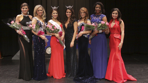 Katie Malone, third from the left, was crowned Miss West Central Alabama Jan. 17 on the campus of the University of West Alabama in Livingston.
