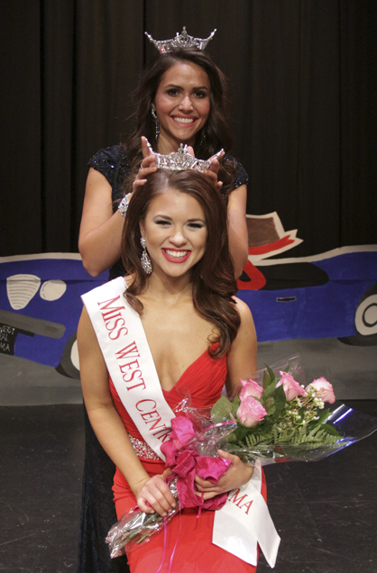Malone is crowned by outgoing Miss West Central Alabama Boni Yraguen. Malone will compete in the Miss Alabama Pageant in June at Samford University.