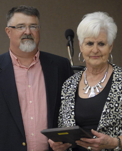 Mary Jo Martin recognized as Citizen of the Year by Mark Freeman.