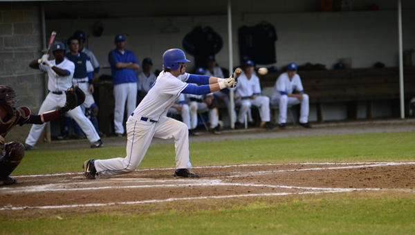 Wil Stephens lays down a bunt for Demopolis against Thomasville.