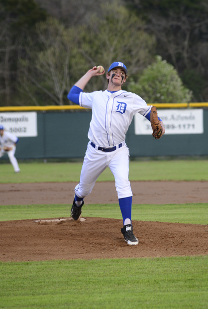 Tripp Perry started on the mound for Demopolis Tuesday. He pitched two innings for the Tigers.