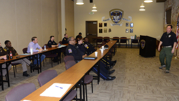 """Members of the Demopolis Police Department and surrounding agencies participate in """"Survival Spanish,"""" a class hosted by the U.S. Department of Justice and the U.S. Border Patrol."""