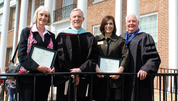 The University of West Alabama inducted Dr. Andrea Scott Mayfield and Delise Hall Sanders into the Society of the Golden Key during its Honors Day ceremony March 18. Pictured, from left to right, are Delise Hall Sanders, UWA President Ken Tucker, Andrea Scott Mayfield, and UWA Provost Tim Edwards.