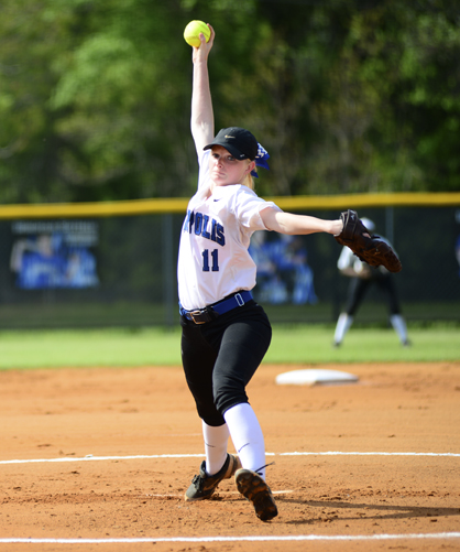 Hanna Malone pitched two innings Wednesday against Wilcox Central and struck out five batters in the 15-0 win.