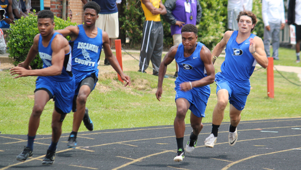 Denzel McAlpine and Logan McVay compete against Escambia County runners during a sectional meet. Several Demopolis athletes qualified for this week's state meet in Gulf Shores.