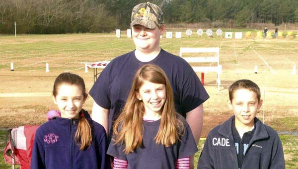 The Marengo County 4-H Shooting Sports Archery Team placed fourth in the state at a March competition in Cullman. Shown are team members Taylor Kirkham, Lizzie Cannon, Cade Kirkham and Will Yates.
