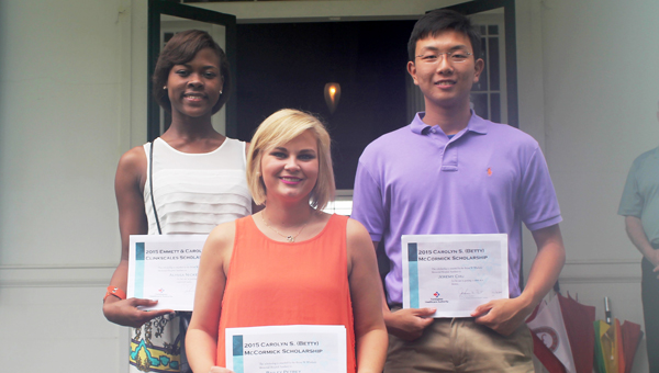 Scholarship students are, from left, Alyssa Nickens, Bailey Petrey and Jeremy Chu. Not shown are Lakendra Bruno, Rachel England and Grey Lewis.