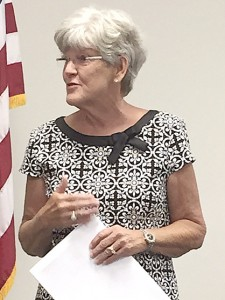 Linda Ingram, a consultant with the Alabama Association of School Boards who was involved in the search for the next superintendent of the Demopolis City School System, announces the final five candidates during a school board meeting Tuesday.