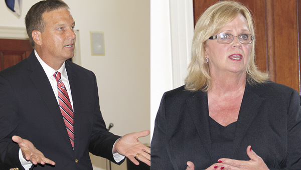 Dr. Keith Davis, left, and Dr. Vicky Spears were the first two candidates to be interviewed for the superintendent position with the Demopolis City Schools. Davis was interviewed Monday and Spears on Tuesday. Three more interviews will be conducted at Rooster Hall Wednesday through Friday.