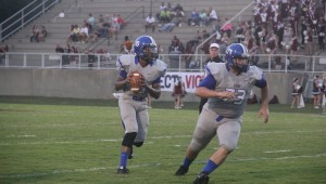 Jamarcus Ezell looks for an open lane against Thomasville. Demopolis came away with a 27-0 victory.