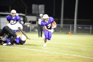 RJ Rodgers tries to find running room against the Choctaw County defense.