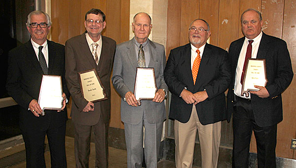 Five were inducted into the Marengo County Sports Hall of Fame during a special ceremony Monday evening at the Demopolis Civic Center. Members of the 2016 Hall of Fame class are, from left, Buddy Brackin, Randy Smith, Clarence Brooker Jr., Terry Barr, and Billy Fultz.