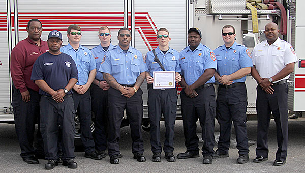 The Demopolis Fire Department has received equipment to help those interested in a career in firefighting. Pictured are, from left, DFD Chief Vernon Waters, Willie Sanderson, Rodney Fields, Daniel Whatley, Marco Rembert, Adam Ballard, Alex Morris, Hunter Mayton, and Talmus Williams.