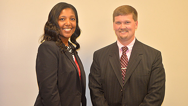 Demopolis Superintendent Kyle Kallhoff with Roshanda Jackson who was named the new principal for Westside Elementary School during a school board meeting Monday.