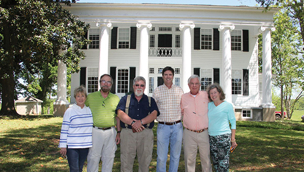 Three brothers recently spent time in and around Dempolis visiting sites tied to the Glover side of their family. Among those sites was Thornhill (pictured) in Boligee. A Glover daughter married into the Thornton family that built Thornhill, although she passed away shortly after the marriage. Pictured are, from left, Anne Boone, Bill Boone, Carl Boone, Brock Thornton Jones (current owner of the Thornhill estate), Dan Boone, and Marty Gresham.