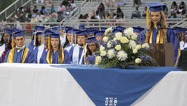 Valedictorian Shoni Jones speaks at Graduation