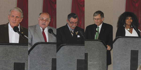 Candidates who participated in a City of Demopolis political forum Monday hosted by the Demopolis Area Chamber of Commerce and Demopolis Area Business Council included, from left, mayoral candidates Arthur Ogden, Mike Grayson, Don Singleton, John Laney, and Thedford Bey-Rowser.