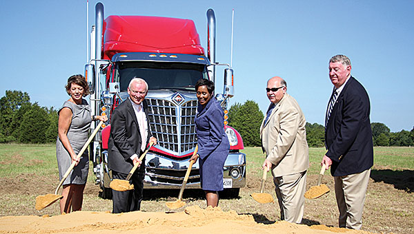 Shelton State Community College and the City of Demopolis held a ground breaking ceremony for the truck driving school building the will be erected in the South Industrial Park in Demopolis. Scheduled to open in 2017, the school will allow for local companies have future employees trained through the program offered by SSCC. Pictured from left: Former Demopolis Industrial Development Board Chair Diane Brooker, current IDP Chair Woody Collins, SSCC Interim President Cynthia T. Anthony, Demopolis Mayor Mike Grayson and Alabama Community College System Trustee Chuck Smith.