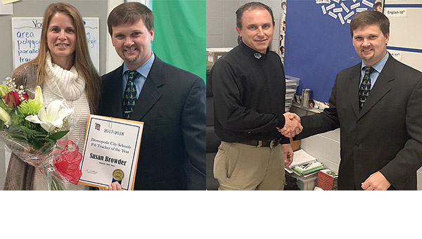 Demopolis City Schools has recognized sixth grade math teacher Susan Browder (left) and Demopolis High School English teacher Jay Russell as the system's Teachers of the Year. The honorees are pictured with Demopolis Superintendent Kyle Kallhoff.